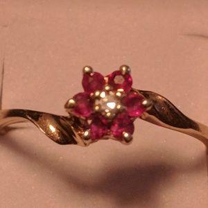 10K Diamond & Ruby Flower Ring
